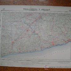 Mapas contemporáneos: SEGUNDA EDICION EN 1952 DEL MAPA DE VILLANUEVA Y GELTRU E 1:50000 EDICION EN VARIAS TINTAS. Lote 28915550
