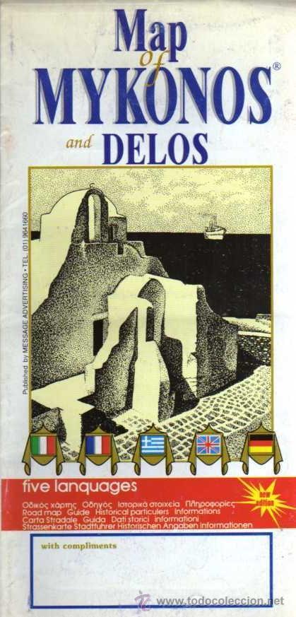 MAPA TURÍSTICO - MYKONOS - EN GRIEGO, INGLÉS, ALEMÁN, FRANCÉS Y ITALIANO (Coleccionismo - Mapas - Mapas actuales (desde siglo XIX))