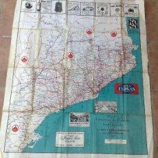 Mapas contemporáneos: ANTIGUO MAPA DE TELA DE LAS CARRETERAS DE CATALUÑA AÑO 1928 GUIA DEL AUTOMOVILISTA . Lote 31098945
