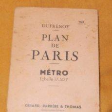 Mapas contemporáneos: PLAN DE PARIS, MÉTRO, DE GIRARD, BARRÉRE & THOMAS, 1954. Lote 31122315