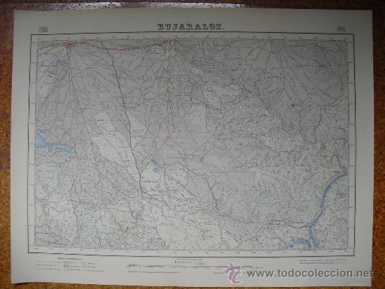 1952 MAPA DE BUJARALOZ E 1:50000 EN VARIAS TINTAS 2ª EDICION INSTITUTO GEOGRAFICO (Coleccionismo - Mapas - Mapas actuales (desde siglo XIX))