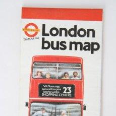 Mapas contemporáneos: FOLLETO MAPA DESPLEGABLE AUTOBUS LONDRES 1988 BUS PLANO URBANO LONDON BUSES. Lote 31595694
