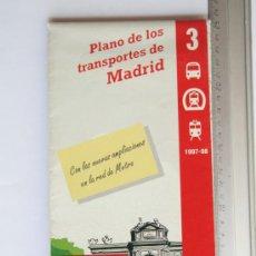 Mapas contemporáneos: FOLLETO MAPA DESPLEGABLE PLANO TRANSPORTES MADRID PLANO METRO CERCANIAS 1997 1998. Lote 31708285