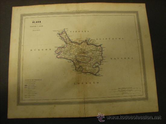 MAPA DE ALAVA DE 1864, DE GASPAR Y ROIG. (Coleccionismo - Mapas - Mapas actuales (desde siglo XIX))