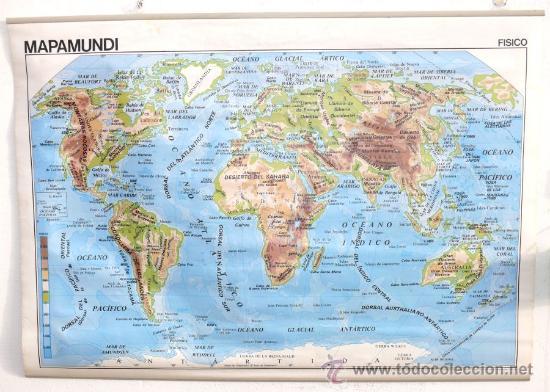 enorme mapa mundi fisico gran tamao doble cara  Comprar Mapas