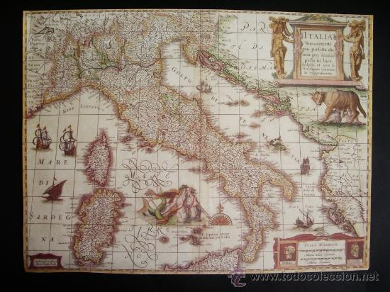 1631-MAPA DE ITALIA.HENRICUS HONDIUS.REPRODUCCIÓN (Coleccionismo - Mapas - Mapas actuales (desde siglo XIX))