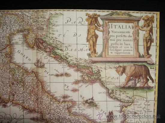 Mapas contemporáneos: 1631-MAPA DE ITALIA.HENRICUS HONDIUS.REPRODUCCIÓN - Foto 2 - 32657508