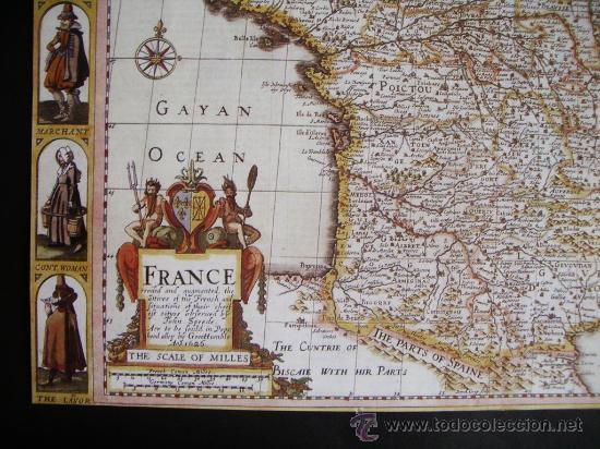 Mapas contemporáneos: 1627-MAPA DE FRANCIA.JOHN SPEED.REPRODUCCIÓN - Foto 2 - 32657621