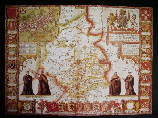 1611-MAPA DE CAMBRIDGE.INGLATERRA.KOHN SPEED.REPRODUCCIÓN (Coleccionismo - Mapas - Mapas actuales (desde siglo XIX))