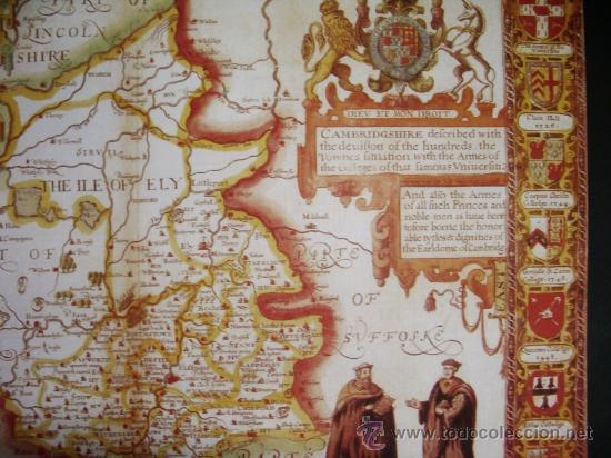Mapas contemporáneos: 1611-MAPA DE CAMBRIDGE.INGLATERRA.KOHN SPEED.REPRODUCCIÓN - Foto 2 - 32657784
