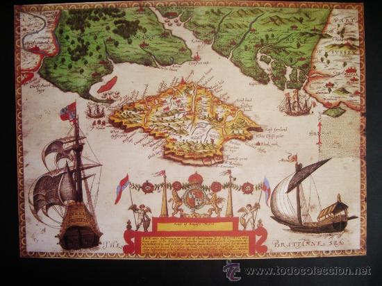 1591-MAPA DE LA ISLA DE WIGHT.INGLATERRA.BAPTISTA BOAZIO.REPRODUCCIÓN (Coleccionismo - Mapas - Mapas actuales (desde siglo XIX))