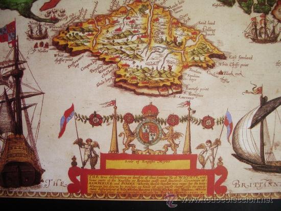 Mapas contemporáneos: 1591-MAPA DE LA ISLA DE WIGHT.INGLATERRA.BAPTISTA BOAZIO.REPRODUCCIÓN - Foto 2 - 32657832
