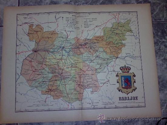 mapa de la provincia de - Badajoz - 35x27cm editor Alberto Martin firmado Benito Chias segunda mano