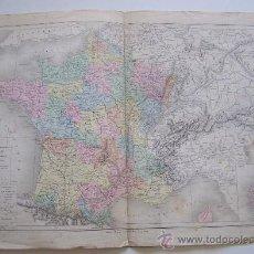 Mapas contemporáneos: FRANCIA MAPA A COLOR SIGLO XIX DIVISEE EN 32 GOUVERNEMENTS PAR MM. DRIOUX ET CH. LEROY. Lote 32864376