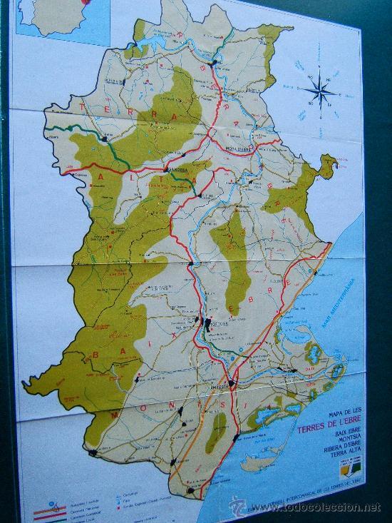 Mapa Terres De L Ebre.Mapa De Les Terres De L Ebre 48 X 33 Cm Baix Ebre Montsia Ribera D Ebre Terra Alta 1982 1ª Ed