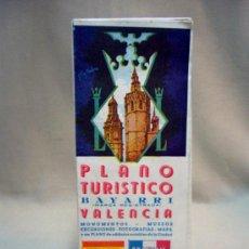 Mapas contemporáneos: PLANO TURISTICO, VALENCIA, EDITADO POR BAYARRI, MONUMENTOS, MUSEOS, 1950S. Lote 33823070