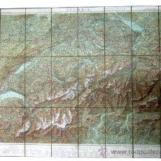 Mapas contemporáneos: 1900C IMPORTANTE MAPA DE SUIZA EN TELA DESPLEGABLE - ENORME TAMAÑO Y . Lote 34776134