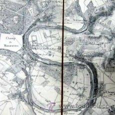 Mapas contemporáneos: 1886 IMPORTANTE Y ENORME MAPA ENTELADO DESPLEGABLE DE LOS ALREDEDORES DE PARIS. Lote 34781565