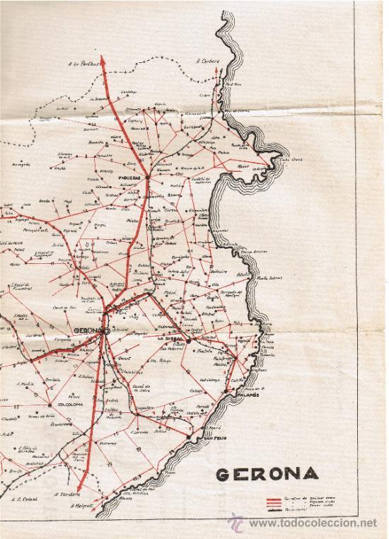 Mapas contemporáneos: MAPA DE GERONA - BICICLETAS COMTE - VILAFRANCA DEL PENEDÈS - 42 x 32 cms - FOTO ADICIONAL - Foto 2 - 35545194
