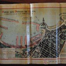 Mapas contemporáneos: AÑO 1929.- PLANO DE PUERTO DE GIJÓN. 80X44CM. ASTURIAS. PROYECTO DE AMPLIACIONES. . Lote 35855054