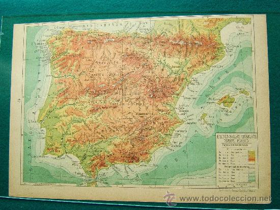 peninsula iberica  mapa fisico  mapa  salvad  Comprar Mapas