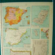 Mappe contemporanee: ESPAÑA DENSIDAD POBLACION - GUINEA ESPAÑOLA - FERNANDO POO - MAPA - S.SALINAS BELLVER - AÑO 1947. Lote 35896416