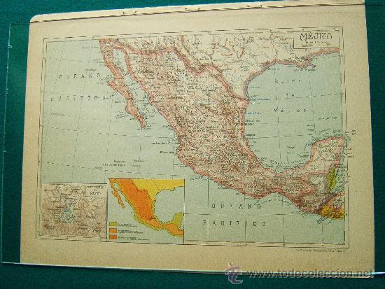 Mejico O Mexico Mapa.Mejico Y Alrededores De Mexico Mapa Salvador Salinas Bellver 34 X 26 Cm Ano 1947