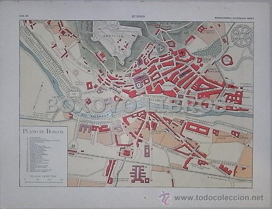 Mapa De Burgos Ciudad.Enciclopedia Ilustrada Segui Plano Y Vistas De La Ciudad De Burgos Circa 1908