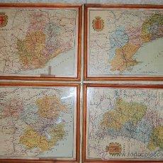 Mapas contemporáneos: MAPA DE BARCELONA TARRAGONA LERIDA Y GERONA EN CASTELLANO 4 MAPAS ENMARCADOS. Lote 36533410