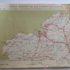 Mapas contemporáneos: MAPA ENTELADO DE ESPAÑA HOJA Nº1 - REAL AUTOMOVIL CLUB- MAPA DE CARRETERAS CORUÑA Y LUGO - AÑOS 20 . Lote 36593517