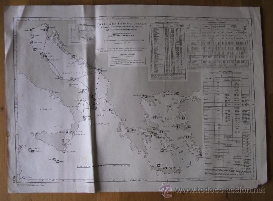 MAPA FRANCES DE RADIO SEÑALES EN EL MEDITERRANEO CENTRAL, ADRIATICO, JONICO Y EGEO 1959 (Coleccionismo - Mapas - Mapas actuales (desde siglo XIX))