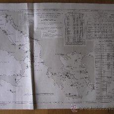 Mapas contemporáneos: MAPA FRANCES DE RADIO SEÑALES EN EL MEDITERRANEO CENTRAL, ADRIATICO, JONICO Y EGEO 1959. Lote 36712851