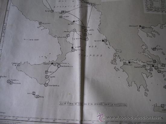 Mapas contemporáneos: mapa frances de radio señales en el mediterraneo central, adriatico, jonico y egeo 1959 - Foto 2 - 36712851