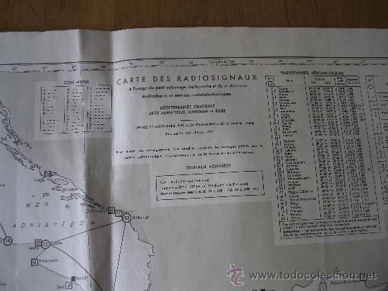 Mapas contemporáneos: mapa frances de radio señales en el mediterraneo central, adriatico, jonico y egeo 1959 - Foto 3 - 36712851