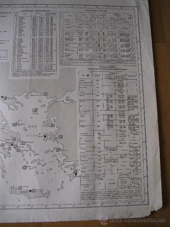 Mapas contemporáneos: mapa frances de radio señales en el mediterraneo central, adriatico, jonico y egeo 1959 - Foto 4 - 36712851