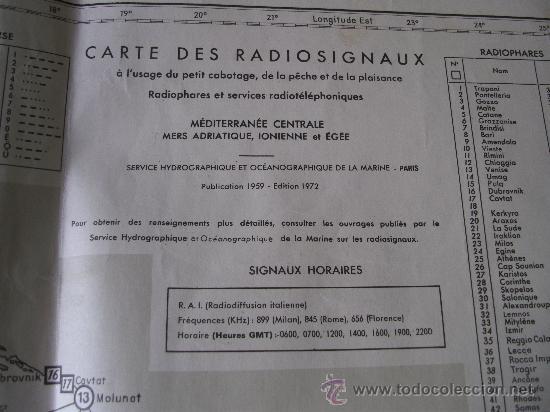 Mapas contemporáneos: mapa frances de radio señales en el mediterraneo central, adriatico, jonico y egeo 1959 - Foto 5 - 36712851