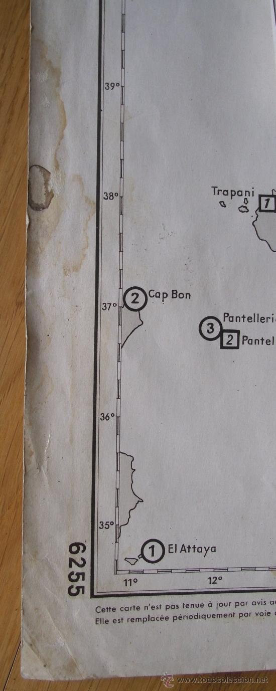 Mapas contemporáneos: mapa frances de radio señales en el mediterraneo central, adriatico, jonico y egeo 1959 - Foto 7 - 36712851
