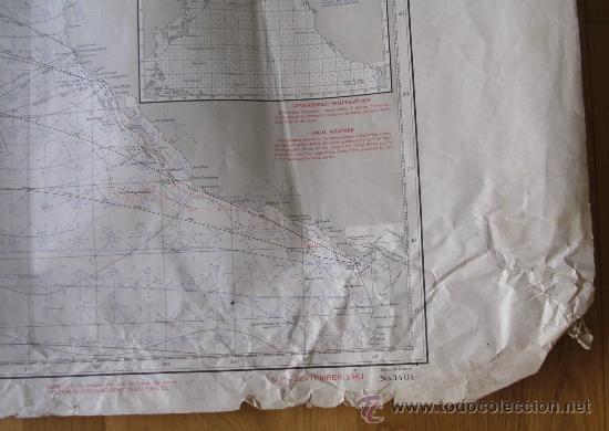 Mapas contemporáneos: mapa de navegacion del oceano pacifico (norte), nº1401, marina americana, sept 1961 (77x114cm aprox) - Foto 2 - 36713058