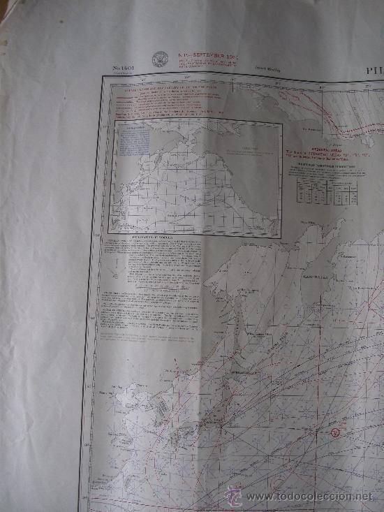 Mapas contemporáneos: mapa de navegacion del oceano pacifico (norte), nº1401, marina americana, sept 1961 (77x114cm aprox) - Foto 4 - 36713058
