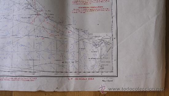 Mapas contemporáneos: mapa de navegacion del oceano pacifico (norte), nº1401, marina americana, oct 1961 (77x114cm aprox) - Foto 3 - 36713180