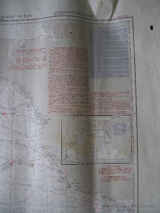Mapas contemporáneos: mapa de navegacion del oceano pacifico (norte), nº1401, marina americana, oct 1961 (77x114cm aprox) - Foto 4 - 36713180