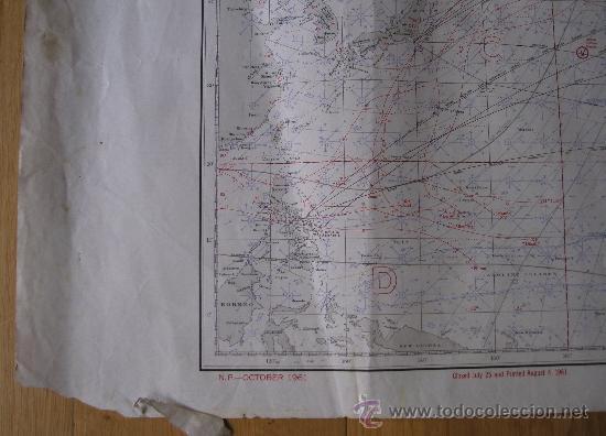 Mapas contemporáneos: mapa de navegacion del oceano pacifico (norte), nº1401, marina americana, oct 1961 (77x114cm aprox) - Foto 6 - 36713180
