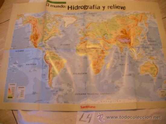 Gran Poster Mapa De El Mundo Hidrografia Y Re Buy Contemporary