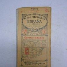 Mapas contemporáneos: MAPA MICHELIN ESPAÑA.HOJA Nº 7 CÁCERES-BADAJOZ.85X42 CMS DESPLEGADO. EDICION EN TELA. Lote 38297618