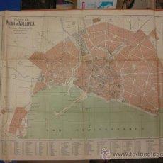 Mapas contemporáneos: PLANO DE PALMA DE MALLORCA ENTELADO CON NOMENCLATOR DE LAS CALLES Y ED. PUBLICOS.74 X 50 CM. 1930. . Lote 38911910