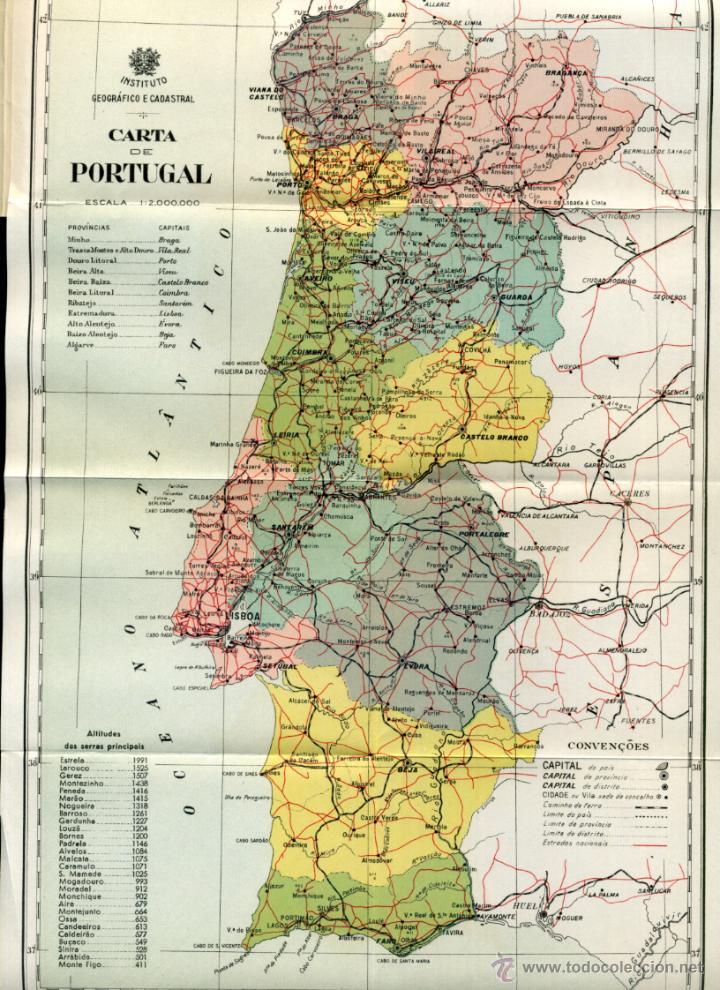mapa geografico portugal portugal, instituto geografico e cadastral, car   Comprar Mapas  mapa geografico portugal