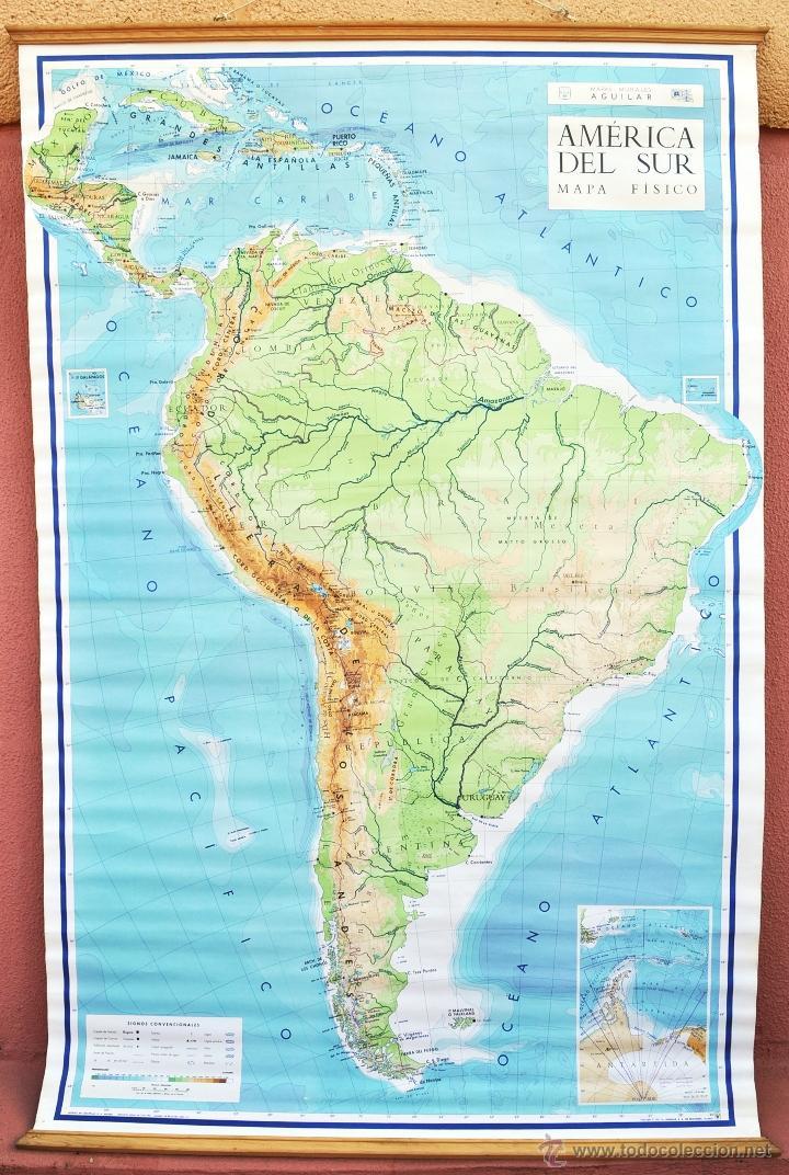mapa america del sur, físico. de escuela. años - Kaufen ...