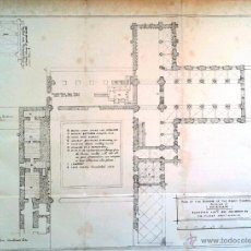Mapas contemporáneos: PLAN OF THE REMAINS OF THE ABEY CHURCH AND BUILDINGS OF HEXHAM.. Lote 40382476