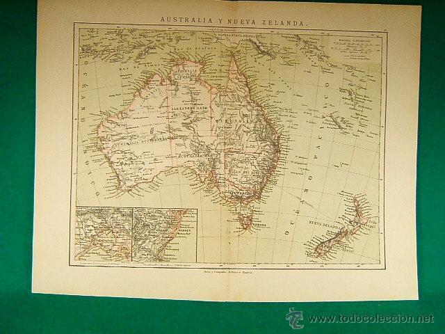 Australia Y Nueva Zelanda Sydney Melbourne Nuevas Hebridas Papua Java Tasmania 310 Map