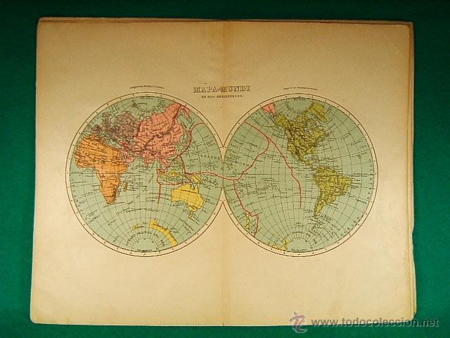 mapamundi en dos hemisferiosoceanos polo glaci  Comprar Mapas